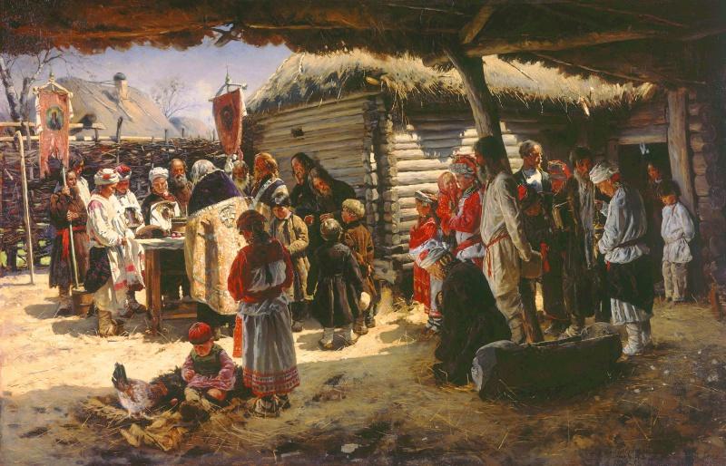 В. Е. Маковский. Молебен на Пасху