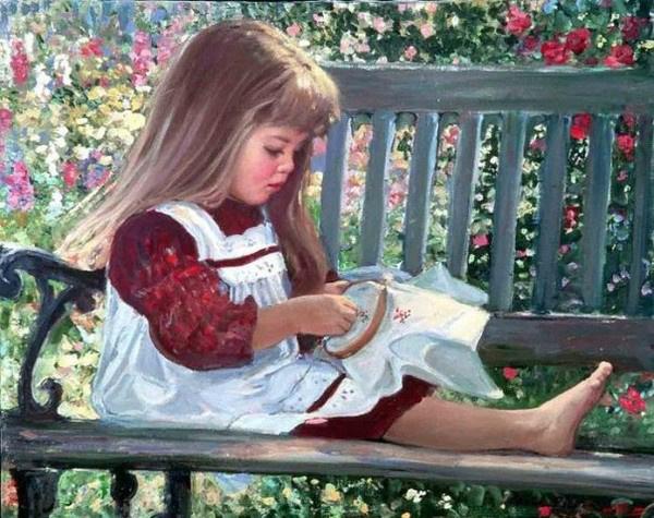 Девочка вышивает