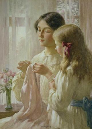 Дочь и мама во время рукоделия